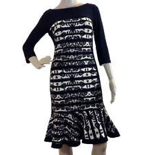 Joseph Ribkoff 163798 Women Black and Brown Fluted Hem Dress Size 6 US NWT