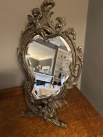 Antique French Bronze  Bevelled Easel Mirror
