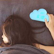Cyan Cloud Shape Sound Control Digital Alarm Clock Time Temperature Date Clock
