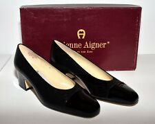 Etienne Aigner Time Black Leather with Patent Leather Cap Toe Low Heels 5M NIB