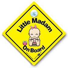 Little Madam On Board Car Sign Baby On Board Sign Suction Cup Baby Sign