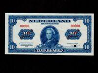 Netherlands:P-66s,10 Gulden,1943 * Specimen * Queen Wilhelmina * AUNC *