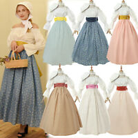 Women Colonial Prairie Pioneer Dress Costume Civil War Trek Blouse Skirt Bonnet