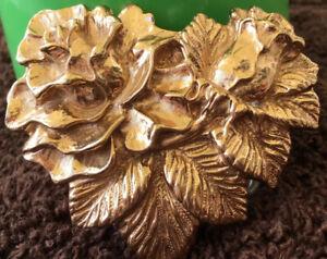 Vintage Crumrine Belt Buckle Gold Nugget Floral Design Western Cowboy Cowgirl