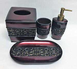 4 PC SET ANTIQUE GOLD,RED+BLACK RESIN SOAP DISPENSER+NAPKIN BOX+TUMBLER+TOOTHBRU