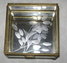 Vintage Trinket Box Floral Etched Lid Glass Panels & Brass Frame Mirror Base