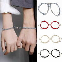2Pcs Attract Couples Bracelets Magnetic Buckle Adjustable Braid Rope Bracelet EN