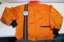 Vintage Moto Ski Snowmobile Swingster Jacket Orange Black Racing Stripes Patch