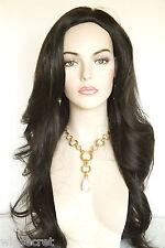 Dark Brown Brunette Long Straight Skin Top Wigs