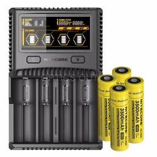 Bundle: Nitecore SC4 Superb Charger Universal Charger w/ 4x 18650 Batteries
