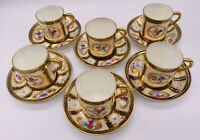 Royal Paragon Fine Bone China HER MAJESTY QUEEN MARY 6 Espresso Cups & Saucers