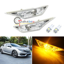 Set OEM Clear Lens Side Marker Lamps w/ Amber LED Bulbs For 10th Gen Honda Civic