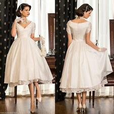 New V Neck Wedding Dress White Ivory Short Sleeve Tea Length Bridal Gown Custom