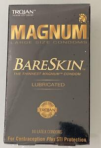 TROJAN Magnum Bareskin Lubricated Large Size Condoms 10 ea Exp 11/24