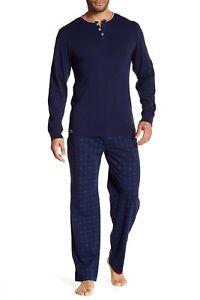 New Lacoste Lounge Set Stylish Sleep Long Sleeve T-Shirts & Pants Size: S M L XL