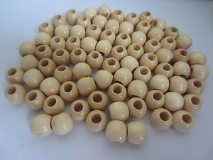 "Lot of 80 Natural Wood Round Macrame Wooden Craft Jewelry Beads 13/16"" 20mm"