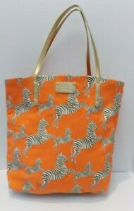 kate spade New York Canvas Tote Orange Zebra Accent