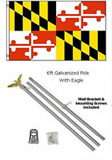 3x5 State of Maryland Flag Galvanized Pole Kit Eagle Top 3'x5'
