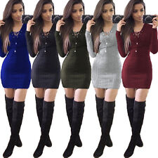 Women Winter Long Sleeve Knitted BodyCon Ladies Fashion Slim Sweater Party Dress