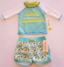 NEW Cat & Jack Baby Boy's Little Swimmer Rash Guard & Swim Short SET▪3-6 Months