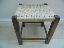 Vintage square rattan stool, wicker rattan woven seat, 1950's raffia footstool