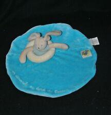 Peluche doudou lapin plat bleu MOULIN ROTY un dimanche au bord de l'eau TTBE