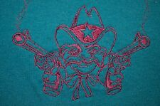 Outlaw Country Cowboy Turquoise Pink Embroidered Jerzees M T-Shirt VTG 80s 90s