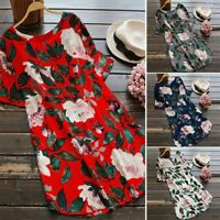 Women Rolled Up Long Sleeve Floral Printed Tunic Tops Shirt Mini Dress Plus Size