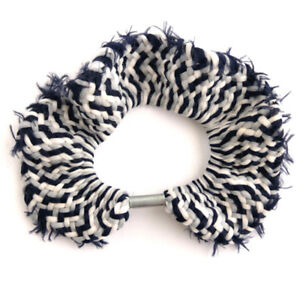 Navy, Gray and White Hair Tie - Ponytail Elastic - Woven Fabric Ponytail Holder