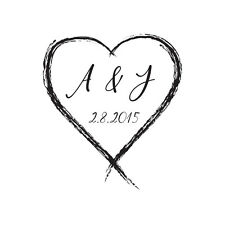 """WEDDING STAMP, PERSONALISED BESPOKE INITIALS & DATE 1"""" or 25mm heart"""