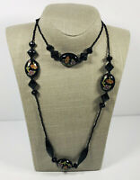 Vintage Necklace Long Flapper Style Black Micro Beads & Floral Painted Beads