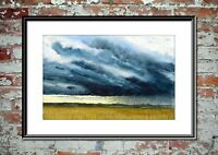 Thunder Clouds, Stormy Landscape Watercolour Print from my own Original Painting