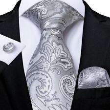 USA Silver Gray Silk Jacquard Paisley Tie Set Necktie Pocket Square Cufflinks