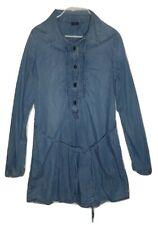 Gap Kids Girls Blue Long Sleeve Chambray Denim Dress M 8