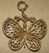 Small Gold Tone Metal Butterfly Pendant or Keychain Dangle