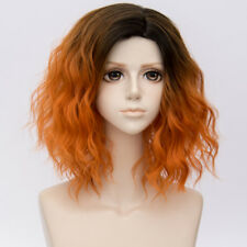 35CM Lolita Black Mixed Orange Ombre Party Curly Fluffy Popular Cosplay Wig+Cap