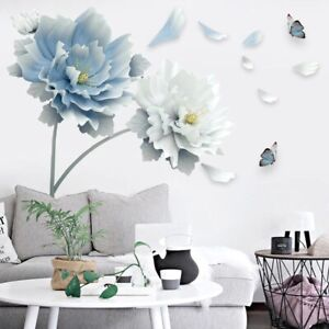 3D White Blue Lotus Flower Wall Stickers Butterfly Wall Art Decals Removable DIY