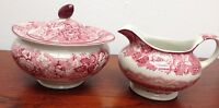 """VINTAGE ENOCH WOODS """"ENGLISH SCENERY""""  WOOD & SONS  CREAMER AND SUGAR BOWL"""
