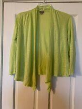 J.JILL Cardigan Size Petite Small Long Sleeve Open Front 100% Linen Light Green