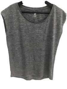 H&M sport Grey Casual oversized Sleeveless Vest Top Tank Loose XS Running Yoga