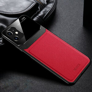 MOBILE PHONE CASE IPHONE 7/8/11/SE/XS/XR/X RED/BLACK PU LEATHER TEMP GLASS MENS