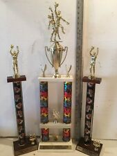 """""""L@K�! Lot Of 3 Basketball Trophies Two 1999 One 2000 2 Post 2 Tier """"L@K�!"""