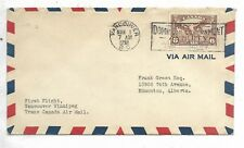 1938 First Flight Cover  AAMC 3805c  Vancouver Canada to Winnipeg Scott # C5