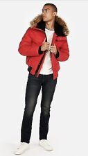 New! EXPRESS Men's Faux Fur Lined Water Resistant Hooded Jacket size L Red $248