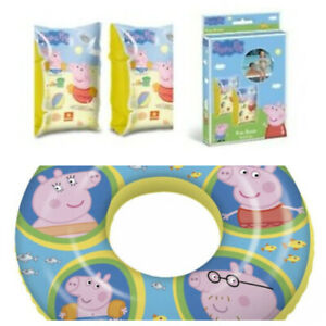 Kids Girls Boys Peppa Pig Arm Bands Ring Swimming Beach Inflatable 2-6 Years