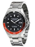 "Calvaneo 1583 ""Dive Carrier Black-Red"" Professional 46mm Diver Uhr, Datum & Lupe"