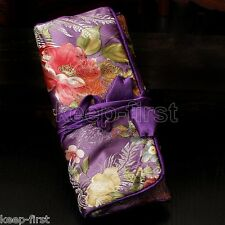 SILK JEWELRY TRAVEL BAG Purple Brocade Fabric Organizer Roll Pouch Carrying Case
