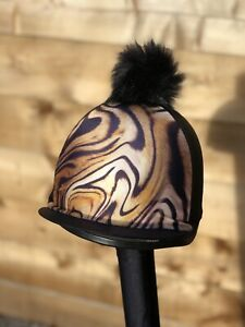 Black Tiger Horse riding hat Cover silk Skull Cover 🇬🇧