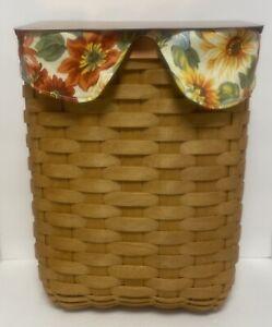 Longaberger Mail Basket Flip Top Copper Lid & Protector COA Sunflowers Liner
