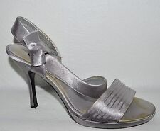 NINA NEW YORK SZ 8.5 M 38.5 METALLIC SILVER SATIN PLATFORM SANDALS HEELS